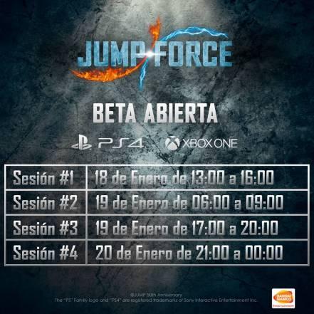 Horarios Beta Jump Force