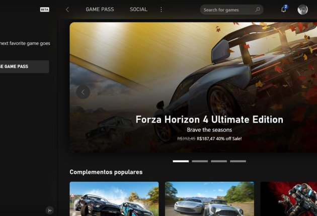 Captura de la nueva aplicación de Xbox 5