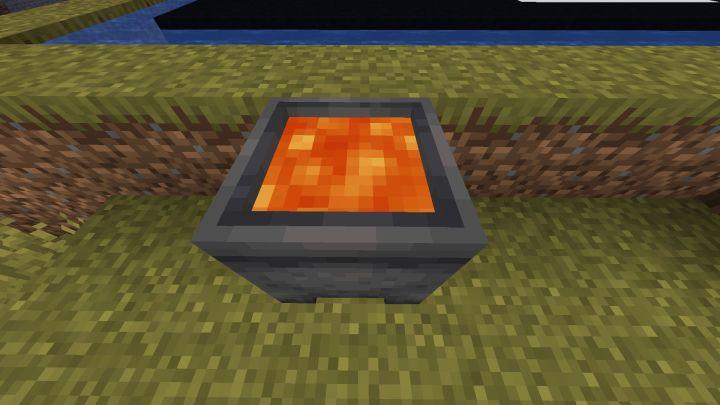 Caldero con lava en Minecraft 1.17 con la Snapshot 20W45A