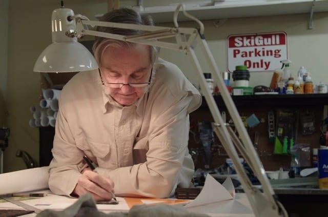 Rutan working on the design. Photo courtesy anntennaFILMS