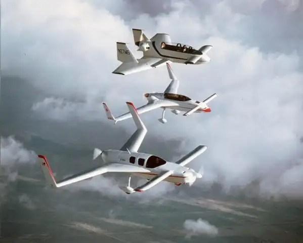 Three of Rutan's designs, the Defiant, VariEze and VariViggen