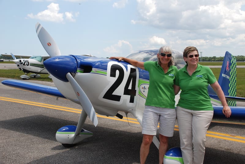 A trial run with an experimental aircraft was a first for the ARC. Stephanie Wells and Gretchen Jahn flew a Van's RV-7 labeled Team 2