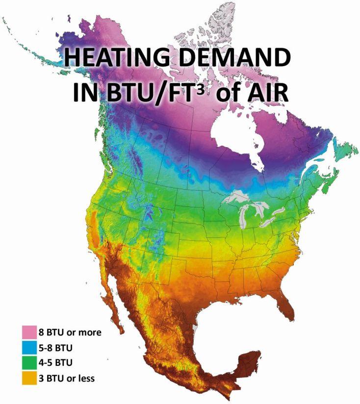 Heating demand in BTU per foot
