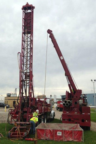center backdrop drill rig