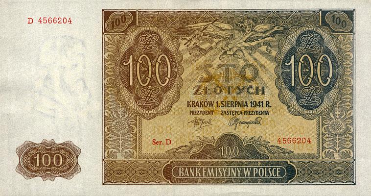 Generalne Gubrnatorstwo banknot 100 złotych 1941 r.
