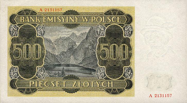 Generalne Gubrnatorstwo banknot 500 złotych 1940 r.
