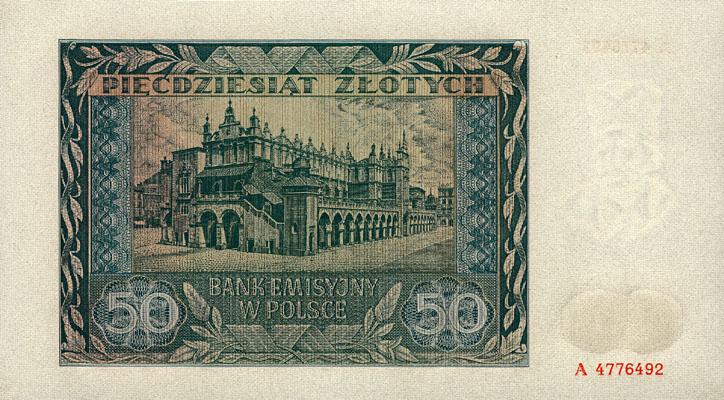 Generalne Gubrnatorstwo banknot 50 złotych 1941 r.