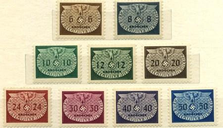 Znaczki urzędowe GG seria 16-24 1940, lipiec-sierpień