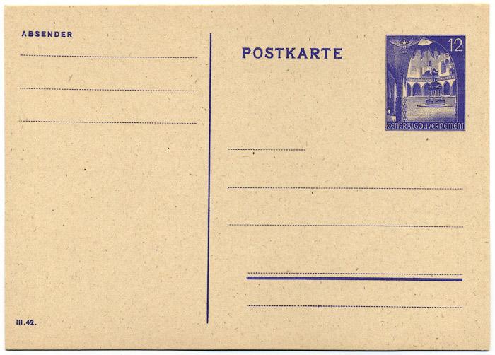 Generalgouvernement Całostka pocztowa Cp. 9B sygn. III 42-0