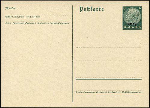 Okupacja niemiecka ALZACJA - GANZSACHE ELSASS Mi. P2, 6 Pf. 1940