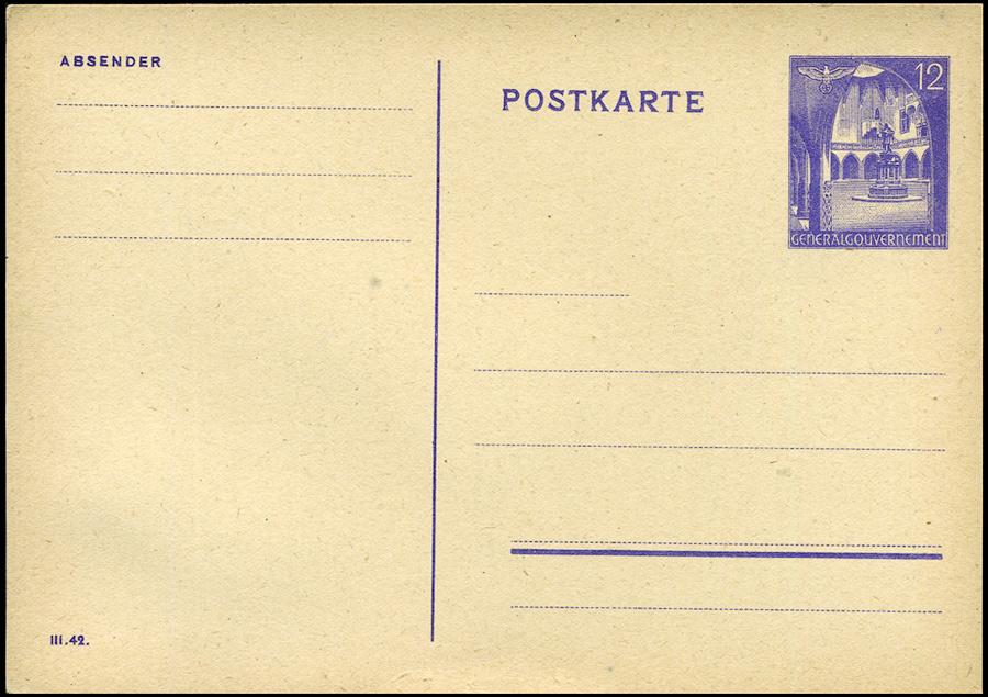 Generalgouvernement Całostka pocztowa Cp. 9B sygn. III 42