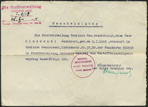 GENERALGOVERNEMENT Bescheinigung / zaświadczenie GRODZISK Maz. 1944