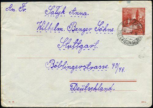 GG - KOPERTA Ck.2 sygn. III.42 BUTYNY -MOSTY WIELKI - STUTTGART 1943