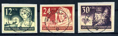 Generalgouvernement Seria Mi. 56-58 kasowane WARSCHAU 1940