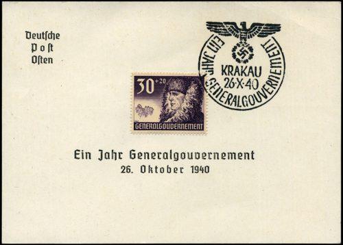 Kasownik okolicznosciowy 6A Ein Jahr Generalgouvernement Krakau 26 X 1940