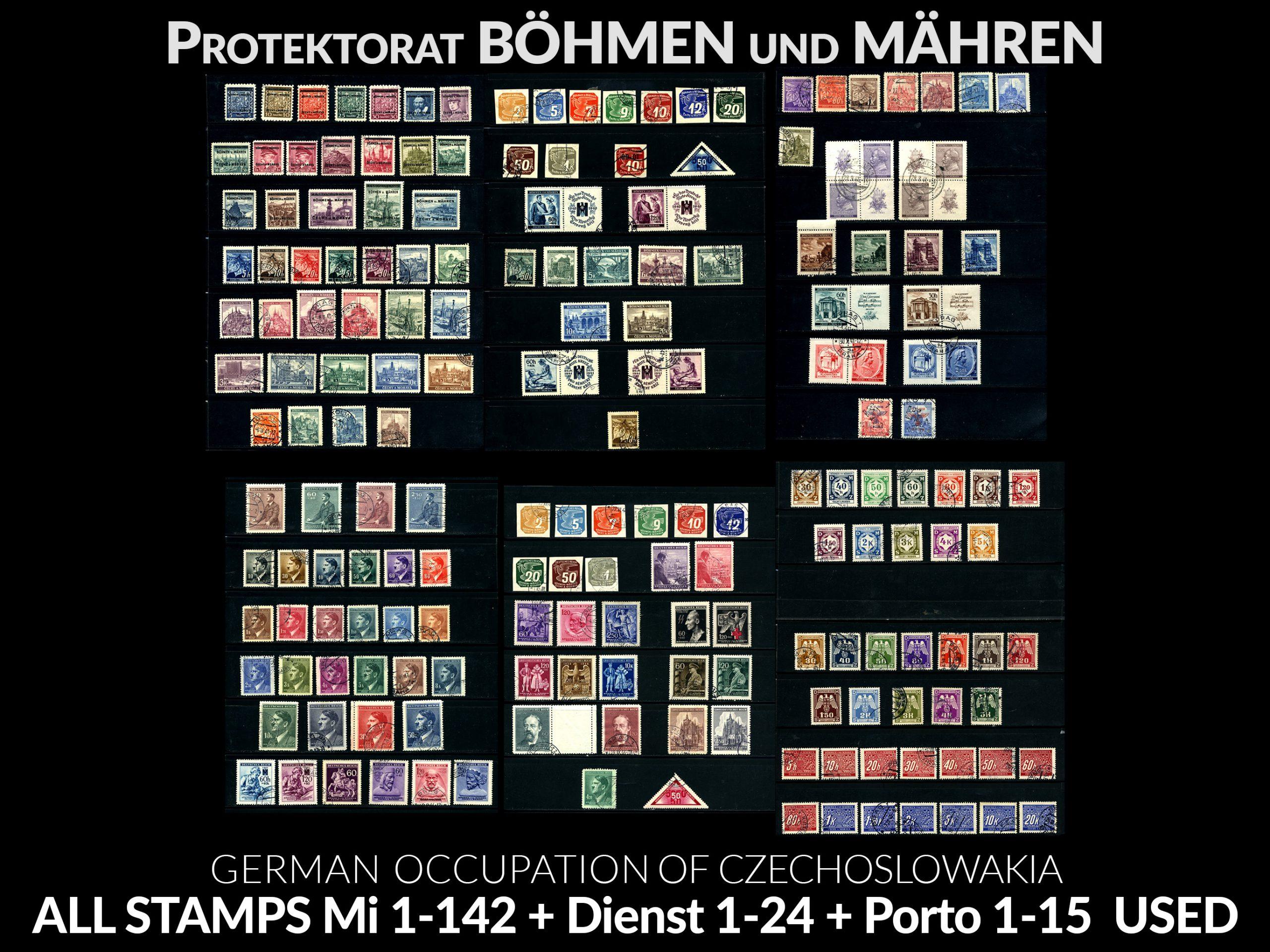 Komplet znaczków Protektorat Böhmen und Mähren 1-142 All stamps USED