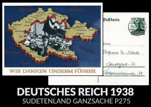 III Rzesza - Zajęcie Kraju Sudeckiego, Sudetenland Ganzsache P275 Lorch - Stuttgart 1938