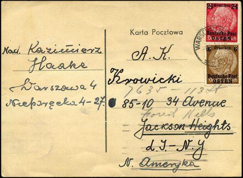 GG postkarte Warszawa - Jackson Heights NEW YORK USA 1940