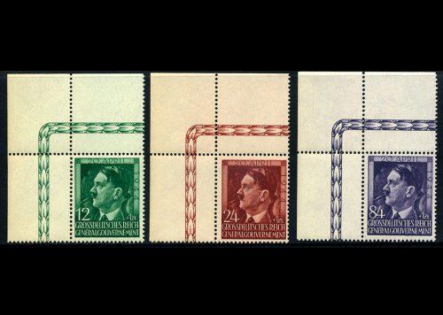 Generalgouvernement Mi. 117-119 1944 r. czyste ** MNH z górnego rogu arkusza