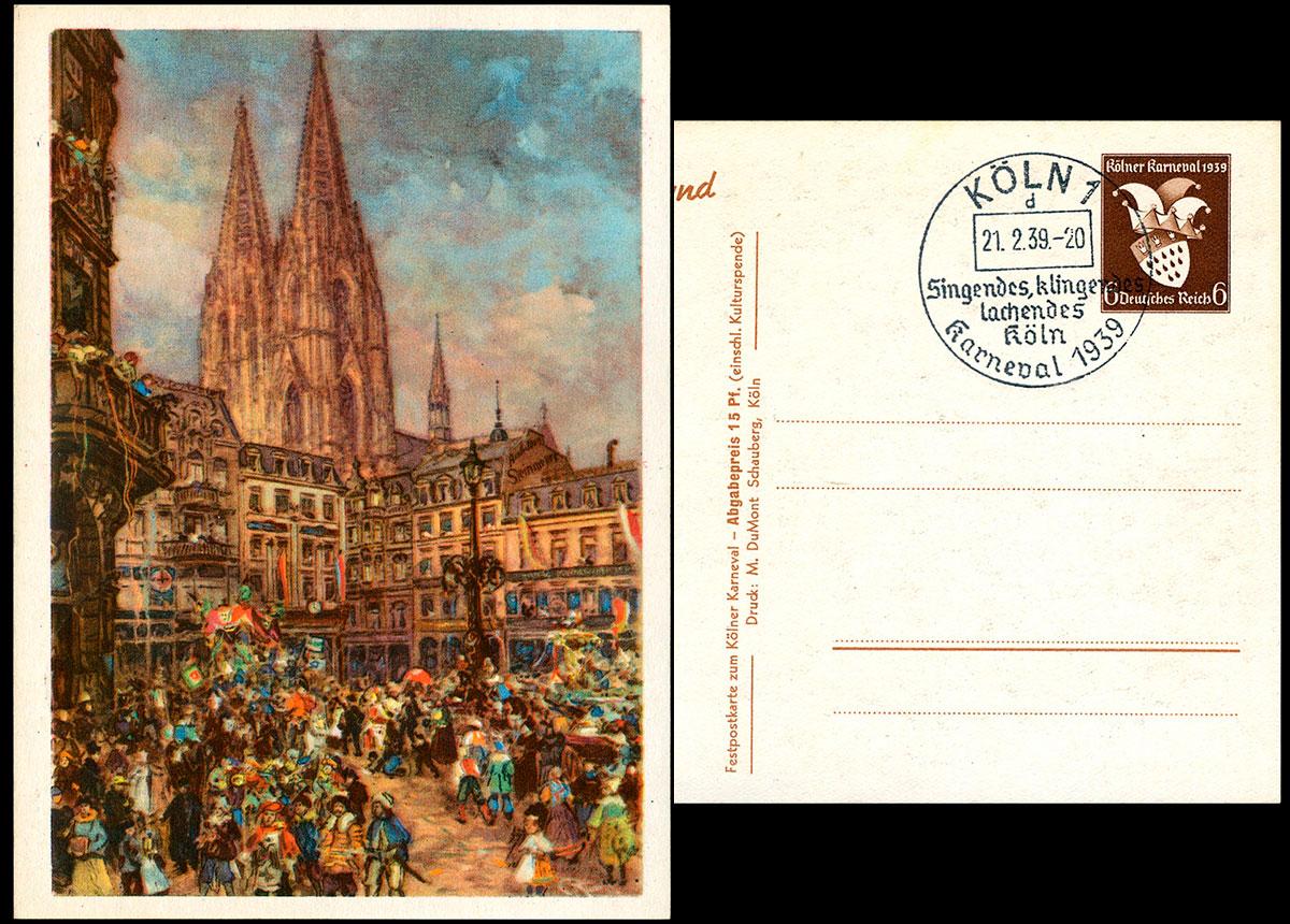 Deutsches Reich Ganzache P 277 Sst Kölner Karneval 1939