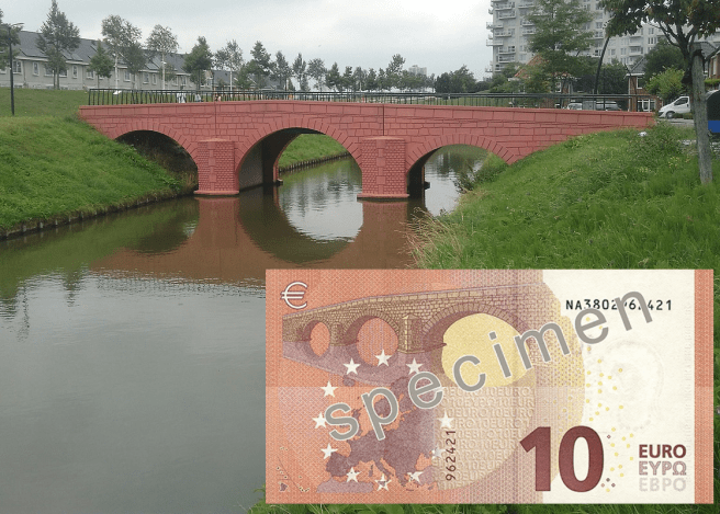 Spijkenisse bridge and 10 Euro note