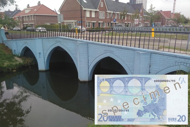 Spijkenisse bridge and 20 Euro banknote