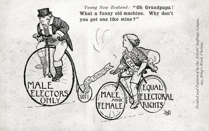 Equal rights postcard with bicycles