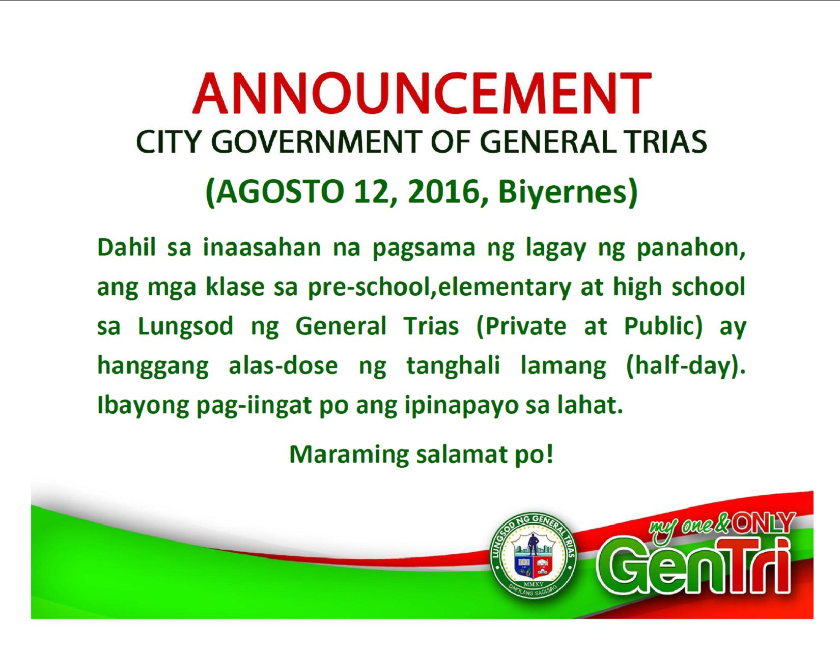 Suspension Of Classes August 12 Official Website