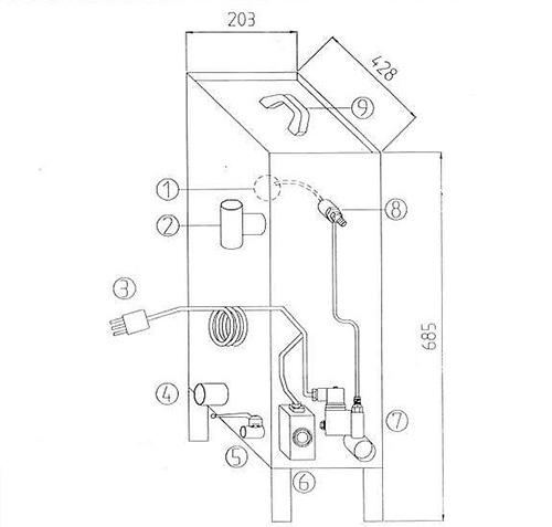 1 : Flotteur contrôle de niveau 2: orifice de débordement (à relier aux réseau d'évacuation des eaux usées) 3 : cordon secteur 230 Volts 4 : sortie libre 1 pouce femelle 5 : Vanne de vidange bâche 6: thermostat de température eau bache (60 °C max) 7: Injection retour de condensats 8 : Raccordement arrivée d'eau adoucie 9: Couvercle bache