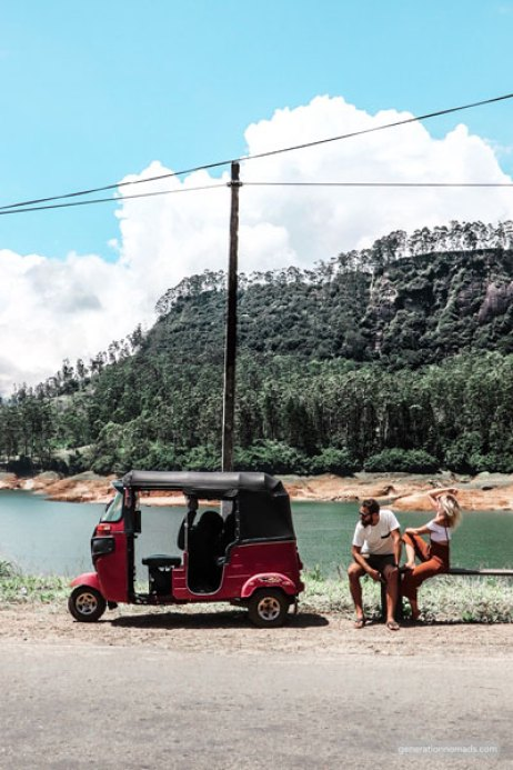 Stopping by a  beautiful lake with our Tuktuk