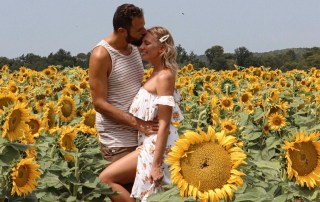 Couple in sunflower field South of France Provence