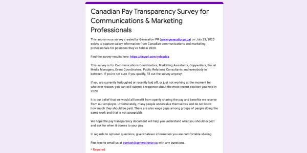 Pay transparency survey