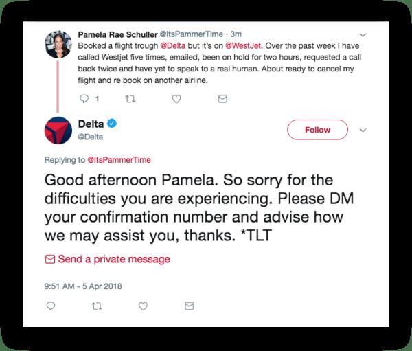 Delta Airlines complaint on social media