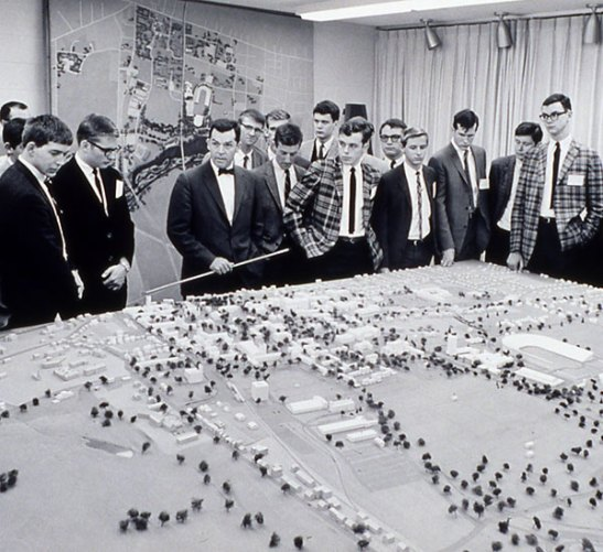 University President Robert Goheen '40 *48 presents a campus model