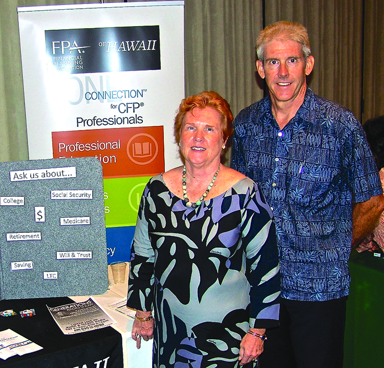 Representing the nonprofit group Financial Planning Association (FPA Hawaii) were Teresa Tyler of First Command Financial Services and Douglas Brown of HomeStreet Bank.