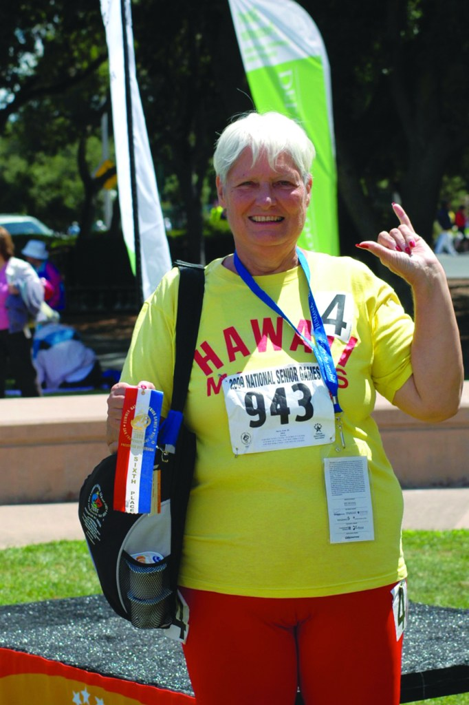 Joan Davis feeling good at the National Senior Games in California.