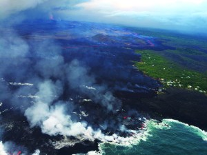 June 2018  lava flows to the ocean at Kapoho. Photo courtesy of  the USGS