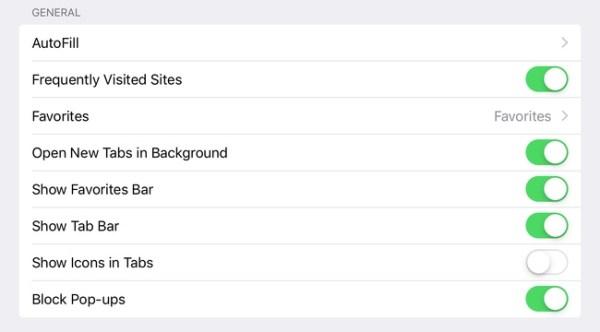 Как включить панель избранного в Safari для iPad