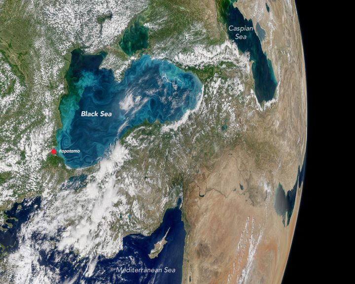 On May 29, 2017, the Moderate Resolution Imaging Spectroradiometer (MODIS) on NASA's Aqua satellite captured the data for this image of an ongoing phytoplankton bloom in the Black Sea. The image is a mosaic, composed from multiple satellite passes over (Image: NASA).