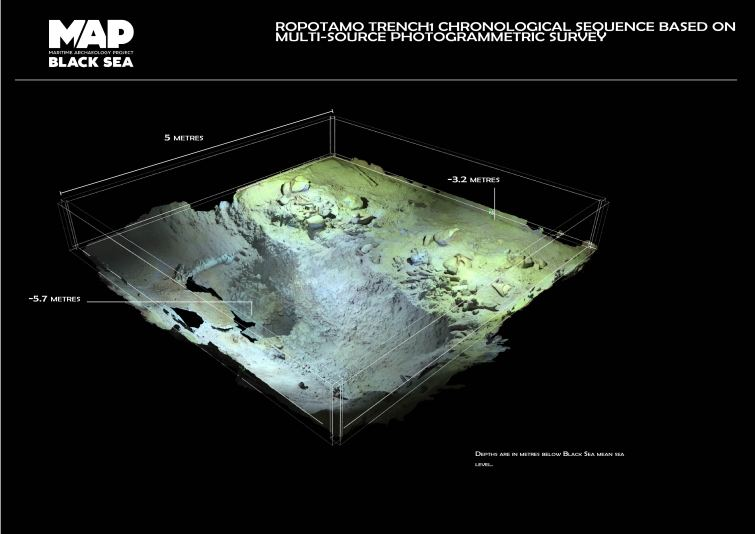 3D textured render of one of the photogrammetric models of a 5x5m trench excavated by the team. This model is composed of more than 3000 images and represents one day of the monthly record of the underwater excavation process (Image EEFE)