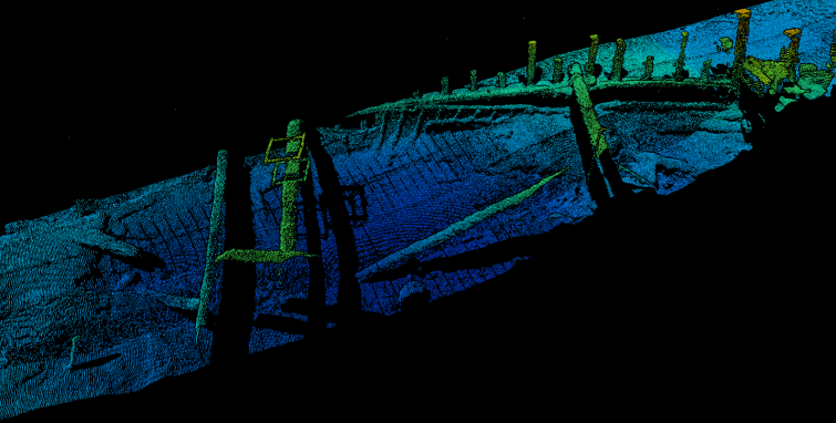 ROV mounted laser scan point cloud of an Early Byzantine shipwreck found at a depth of 2000m. Photo Chris Bailey