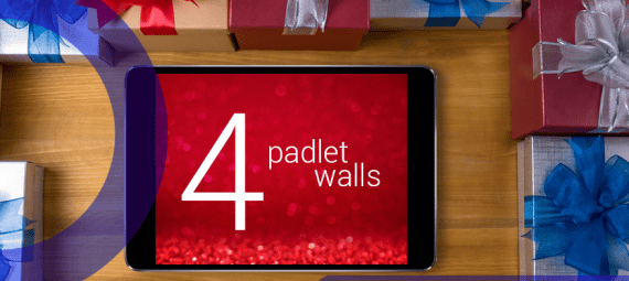 iPad with the words '4 Padlet walls' on it.