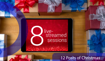 iPad with the words '8 live streamed sessions' on it.