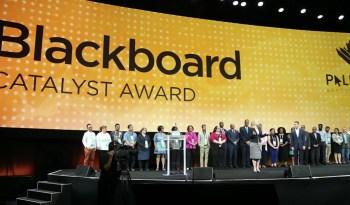 Blackboard Catalyst Award winners on stage.