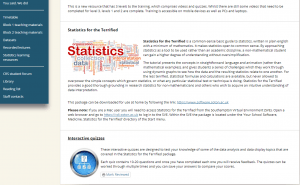 Screenshot from Clinical Research Skills Blackboard statistics page, with link to interactive quizzes