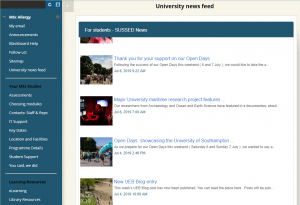 Screenshot from the MSc Allergy Blackboard site, showing Sussed news feed