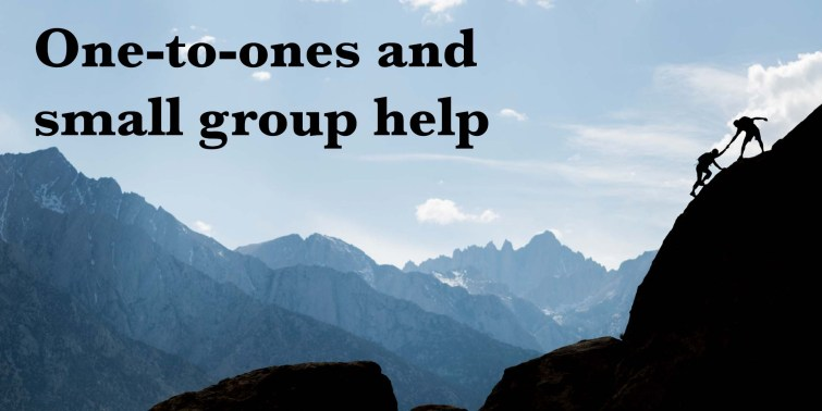 Silhouette of a climber extending a helping hand to another climber on a steep slope. Mountains can be seen in the background. Superimposed text says 'One-to-ones and small group help'.