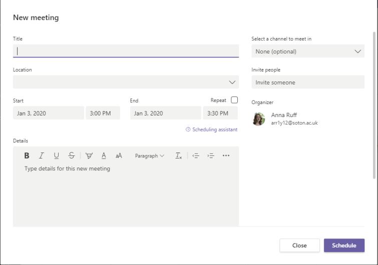 Screenshot showing new meeting screen in Microsoft Teams