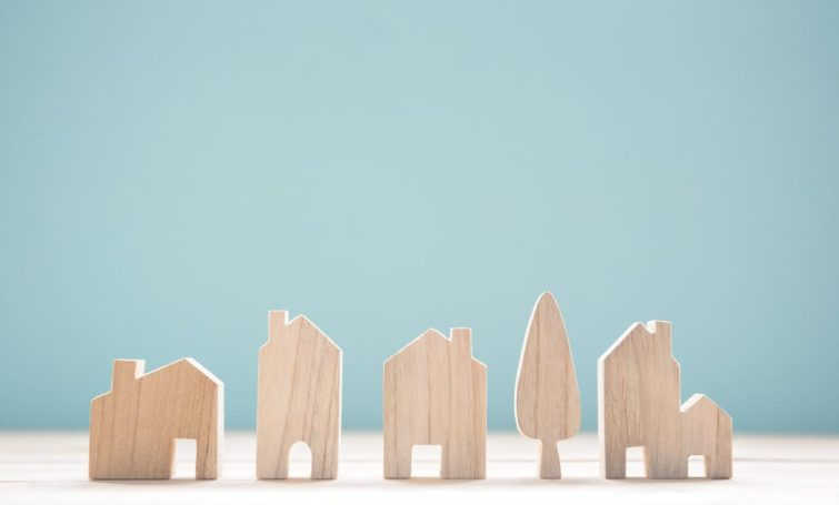 Wooden homes gathered together in a community