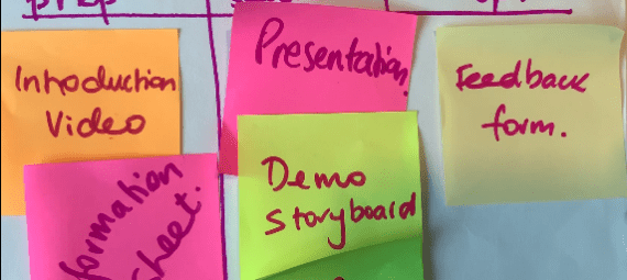 Sample storyboard with post-it notes for FLOW workshop